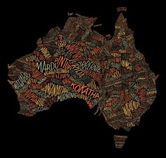 Dave Foster illustrated this incredible map of Australia for the Australian Geographic. The September/October issue features a thoughtful examination of the verbal art of indigenous culture and Dave's map of Australia, completely composed of ancient words, provides a visual reference point for the 250+ languages once spoken across Australia. It seems like words literally do form a nation.