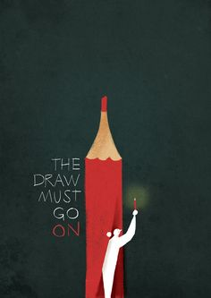 "in memory. ""The draw must go on"" Riccardo Guasco Graphic Design Illustration, Digital Illustration, Graphic Art, Photomontage, Pencil Design, Small Drawings, Design Graphique, Typography Prints, Illustrations And Posters"