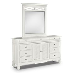 Plantation Cove White Dresser U0026 Mirror | American Signature Furniture      $999