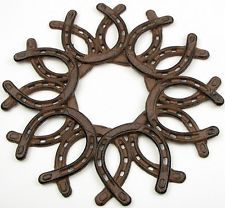 Welded Metal Work Horse Shoe Wall Art Craft Sculpture Farm Country Western Decor