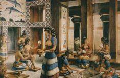 Minoan palace scene painting