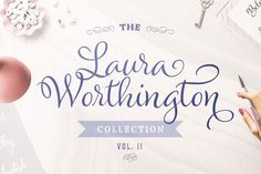 If you loved Samantha font wait until you see this Laura Worthington bundle!! I was so excited to see it! =) Bold Fonts, New Fonts, Brush Lettering, Hand Lettering, Samantha Font, Cool Doodles, Wedding Fonts, Creative Fonts, Beautiful Fonts