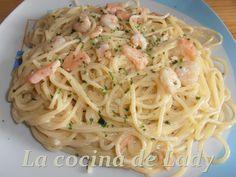 La Cocina de Lady: Espaguetis con Gambas y Salmón Ahumado