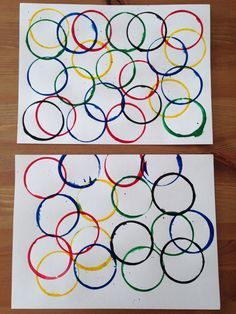 Olympic Rings Painting Using Dixie Cups - Olympic Craft - Preschool Craft - ArtsyCraftsyMom Preschool Projects, Preschool Lessons, Preschool Learning, Preschool Activities, Teaching, Creative Activities, Infant Activities, Olympic Idea, Olympic Games