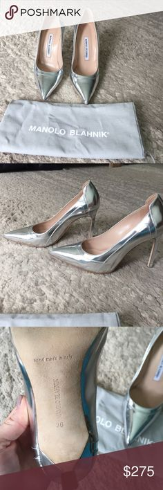 Silver Manolo Blahnik. Beautiful silver Manolo Blahnik. Hate to part with these but they no longer fit after my first pregnancy. Worn twice, they're in almost new condition. Original dust bag. Manolo Blahnik Shoes Heels