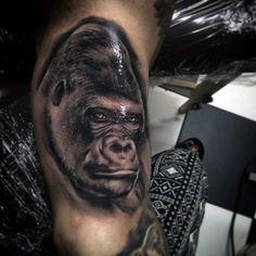 Bicep Black Gorilla Mens Tattoo Designs