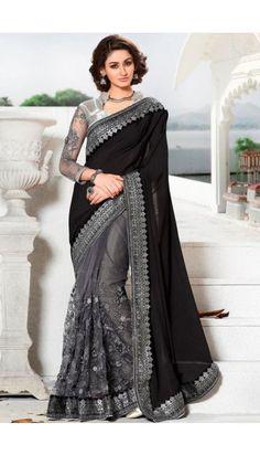 Black and grey Georgette Saree With Art silk Blouse - DMV11267