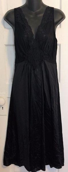 Sexy Black Satin Long Vanity Fair Lace Trim Negligeé - Large #VanityFair #Gowns #Sexy