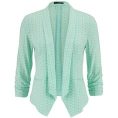 maurices Patterned Blazer In Mint ($8.75) ❤ liked on Polyvore featuring outerwear, jackets, blazers, cardigans, green, mint creme combo, green blazer jacket, pattern jacket, mint green blazer and mint jacket