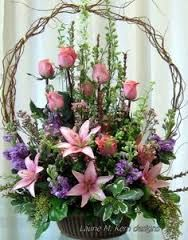 Image result for rose basket arrangement