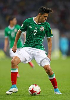Raul Jimenez of Mexico in action during the FIFA Confederations Cup Russia 2017 Group A match between Mexico and New Zealand at Fisht Olympic Stadium on June 2017 in Sochi, Russia. Fifa, Europa League, Olympics, Squad, Russia, Mexico, June, Soccer, Action