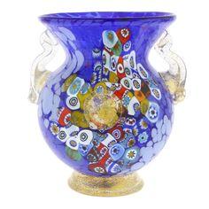 Murano Glass Vases | Murano Glass Millefiori Urn Vase with Lion Heads - Blue