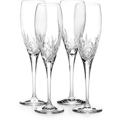 Mikasa Orion Crystal Champagne Flute Set of 4 ($116) ❤ liked on Polyvore featuring home, kitchen & dining, drinkware, clear, etched stemware, crystal flute, etched champagne flutes, crystal champagne flutes and crystal drinkware