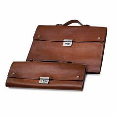 Vegetable tanned cowhide leather. Unlined. With a small sewn-on compartment inside (21 x 9. 5 cm). Two locks and... - Manufactum Folding Briefcase