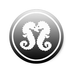 Black and White Seahorses Kissing Sticker