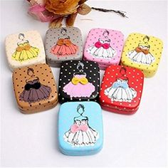 U-beauty 1 Piece Girl with Skirts Pattern Contact Lens Case Box Kit Set With Small Mirror Color Send in Random
