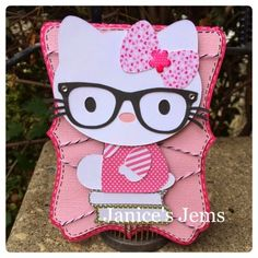 Janice's Jems: Hello Kitty #SVGCuttingFiles #JadedBlossom Kids Cards, Hello Kitty, Minnie Mouse, Snoopy, Paper Crafts, Disney Characters, Paper Craft Work, Papercraft, Paper Crafting