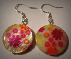Mother of Pearl Floral Handmade Earrings by CraftyChic90 on Etsy, $3.00