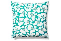 Orchids 20x20 Outdoor Pillow, Teal
