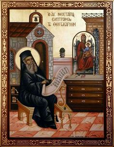 Saint Nektarios - an icon of him as he wrote the hymns to the Virgin Mary ( Agne Parthene) Byzantine Icons, Byzantine Art, Religious Icons, Religious Art, Orthodox Christianity, Art Icon, Orthodox Icons, Kirchen, Christian Faith