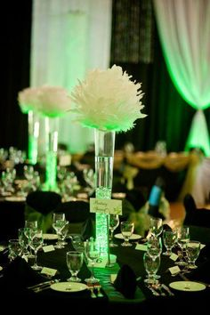 Feather balls and green lighting. Love