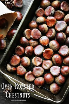 Easy recipe for Oven Roasted Chestnuts. Clean each chestnut with the damp kitchen towel. With a sharp knife, make a cut across the belly side of the chestnuts. You can also score cross, but one cut across the belly is easy to open it up after they are completely done. Preheat the oven to 400 degrees Fahrenheit. Place the chestnuts in the one layer of the baking tin just to measure how many you can use in one layer.