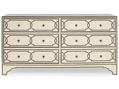 Shop for Bernhardt Interiors Cabrillo Nailhead Dresser, 323-052N, and other Bedroom Chests and Dressers at Hickory Furniture Mart in Hickory, NC. Linen wrapped dresser with nailhead trim. No linen or nailhead on back of dresser. Clear lay-on glass with eased edge on top. Six drawers with nailhead trim pattern.