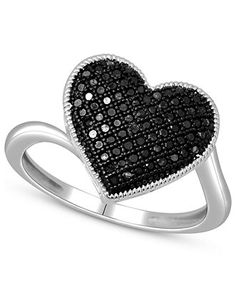 Sterling Silver Ring, Treated Black Diamond Heart Ring (1/4 ct. t.w.) - Rings - Jewelry & Watches - Macy's #divorcering: #trashthedress #divorce