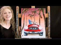 Learn How to Paint HOT ROD SUMMER with Acrylic - Paint and Sip at Home - Fun Step by Step Tutorial