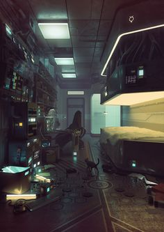 civilianzero: larvalhex: thefairiesscareme: Mercury by Eimer Beautiful cyberpunk/futuistic bedroom. I'd love to live here :D ooohhhHh Can I live here? I want to live here very bad. Cyberpunk 2077, Cyberpunk Kunst, Sci Fi Kunst, Arte Sci Fi, Sci Fi Art, Sci Fi Environment, Environment Design, Zbrush, Art Science Fiction