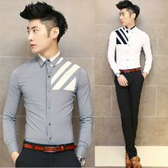 Online Shop Recommendation Silm Style Contrast Print Fashion Sexy Club Shirts Cool Men Gray Black White Aliexpress Mobile