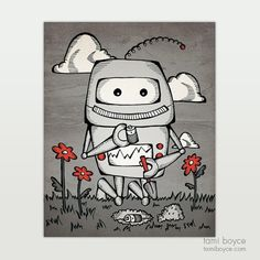 """Robot Love, Trying to Plant a Friend, """"Teach a Robot to Love"""" Series - Tami Boyce Human Behavior, Feeling Lonely, Data Collection, Daily Activities, Close To My Heart, Life Cycles, My Passion, Robot, Doodles"""