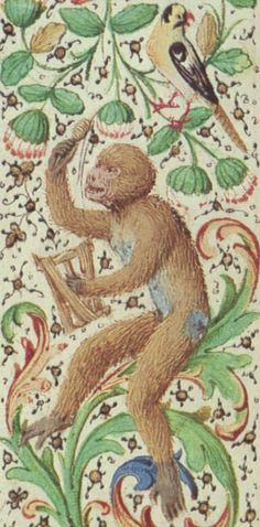 'Monkey winding thread' from the Book of Hours of Mary of Burgundy, German, 1857 | St. Louis Library Manuscripts: Detail of fol. 31r