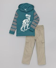 Look at this #zulilyfind! Dino Hooded Layered Tee & Pants - Infant, Toddler & Boys #zulilyfinds