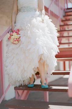 feathered wedding dress | blue wedding shoes | las vegas pink vintage downtown wedding gaby j photography