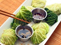 Jamie Olivers Steamed Asian Chicken Parcels: light, no-carb, delicious appetizer. These are similar to potstickers but the wonton wrapper is replaced w a cabbage leaf. These are steamed until the filling is cooked the cabbage is tender.