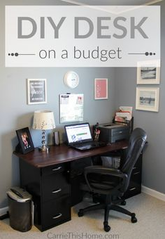 Desk On A Budget Build this fully customizable desk to fit your needs and budget! It's the perfect weekend project! DIY Desk On A BudgetBuild this fully customizable desk to fit your needs and budget! It's the perfect weekend project! DIY Desk On A Budget Furniture Projects, Diy Furniture, Home Projects, Home Office Design, Home Office Decor, Office Ideas, Office Setup, Desk Ideas, Diy Office Desk