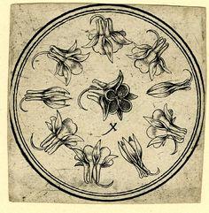 Playing-card: ten of columbines.  c.1500 Engraving