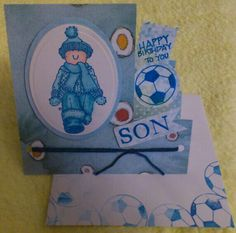Side stepper card with stamps and die cuts