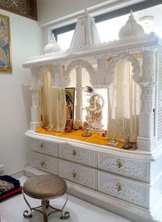 Best Pooja Room Design in India Pooja Room Door Design, Home Room Design, Home Interior Design, House Design, Wooden Temple For Home, Temple Design For Home, Temple Room, Home Temple, Style At Home