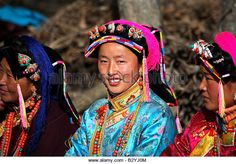 Tibetan women in Danba,Sichuan Province at a wedding ceremony - Stock Image