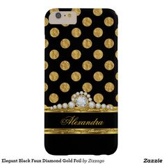 Elegant Black Faux Diamond Gold Foil Barely There iPhone 6 Plus Case