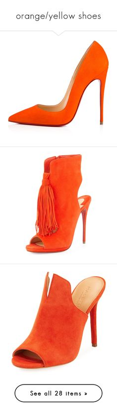 """""""orange/yellow shoes"""" by mrstomlinson974 on Polyvore featuring shoes, pumps, heels, suede leather shoes, suede pumps, christian louboutin, heel pump, suede shoes, boots and ankle booties"""