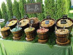 Beautiful popcorn bar with tea green sequin tablecloth and barrels. Wedding Snack Bar, Wedding Popcorn Bar, Wedding Desserts, Wedding Reception, Rustic Wedding, Our Wedding, Cheap Wedding Food, Candy Bar Wedding, Wedding Ideas