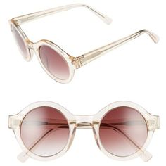 Women's Derek Lam 'Luna' 47Mm Round Sunglasses ($375) ❤ liked on Polyvore featuring accessories, eyewear, sunglasses, nude crystal, derek lam glasses, rounded glasses, derek lam sunglasses, crystal glasses and round frame glasses