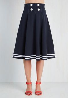 You Ain't Seen Nothing Yacht Skirt. Astound your friends with your chic, nautical style by sporting this navy-blue midi skirt. #gold #prom #modcloth