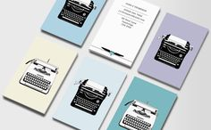Vintage Typewriters 1  Double-sided Business Cards  Business Cards for Journalists, freelance writers, editors, copywriters, bloggers and novelists don't have to have a way with words – in fact, you can cut out the text altogether! These vintage typewriters are an eye-catching way to sell your wares without saying a thing.