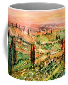 Tuscany Last Sunrays In The Evening Coffee Mug featuring the painting Tuscany Last Sunrays In The Evening by Sabina Von Arx Mugs For Sale, Creative Colour, Unique Coffee Mugs, Basic Colors, Painting Techniques, Color Show, Tuscany, Colorful Backgrounds, Watercolor Paintings
