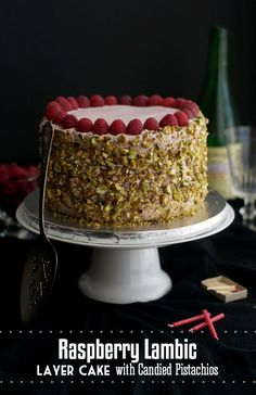 Raspberry Lambic Layer Cake with Candied Pistachios - I know what cake someone is getting for his birthday this year!