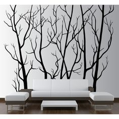 Innovative Stencils Tree Forest Branches with Birds Wall Decal